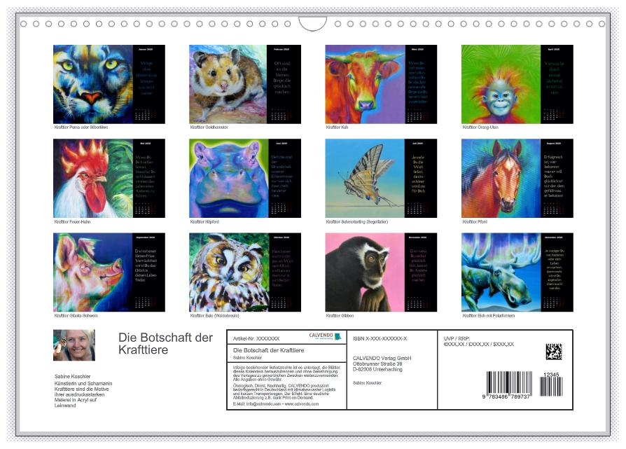 Krafttier Kalender: Die Botschaft der Krafttiere von Sabine Koschier Kalenderblätter