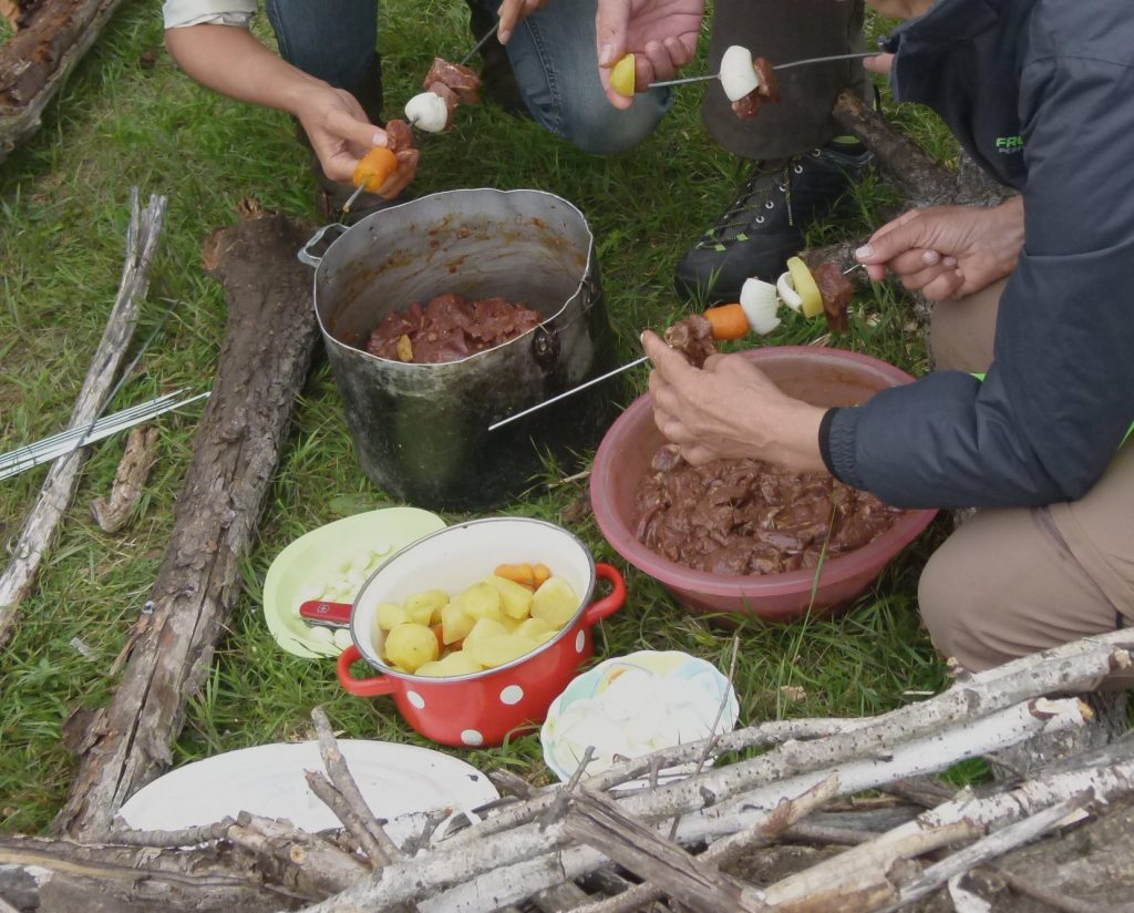 Rehbock Grillspieße in der Mongolei