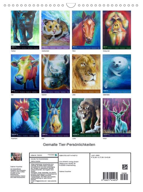 Krafttier Kalender: Gemalte Tierpersönlichkeiten von Sabine Koschier Kalenderblätter