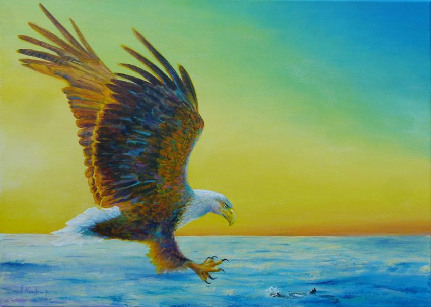 Krafttier Seeadler im Sonnenuntergang über dem Meer gemalt