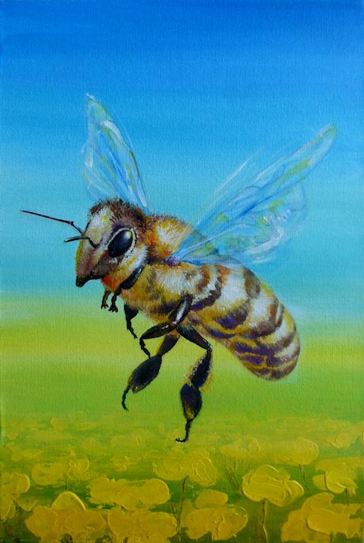 Krafttier Biene / Honigbiene gemalt von der Künstlerin Sabine Koschier