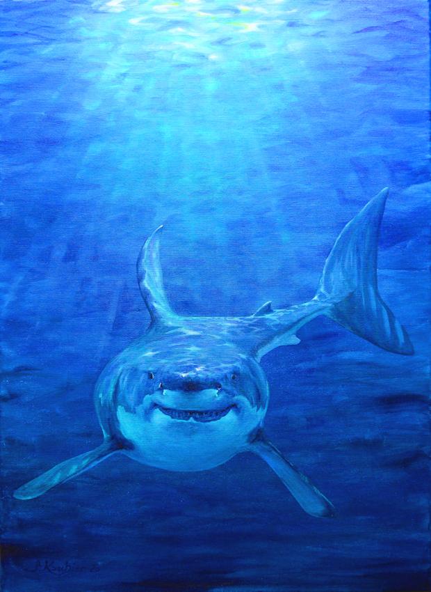 Krafttier Hai oder Haifisch, Bedeutung und Malerei der Künstlerin Sabine Koschier