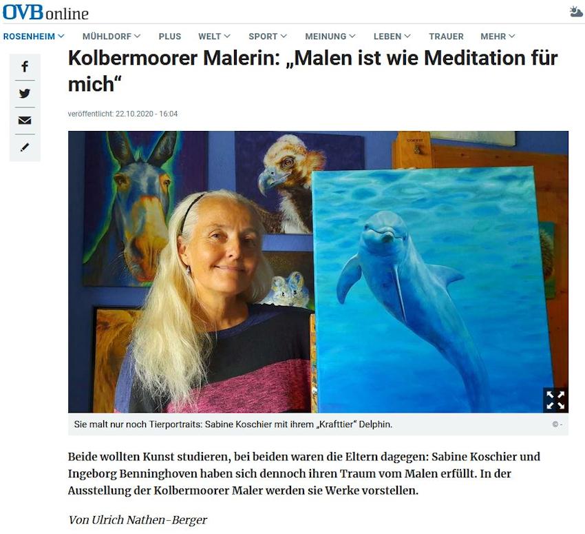 Artikel über die Künstlerin der Kolbermoorer Maler Sabine Koschier im OVB Mangfallboten