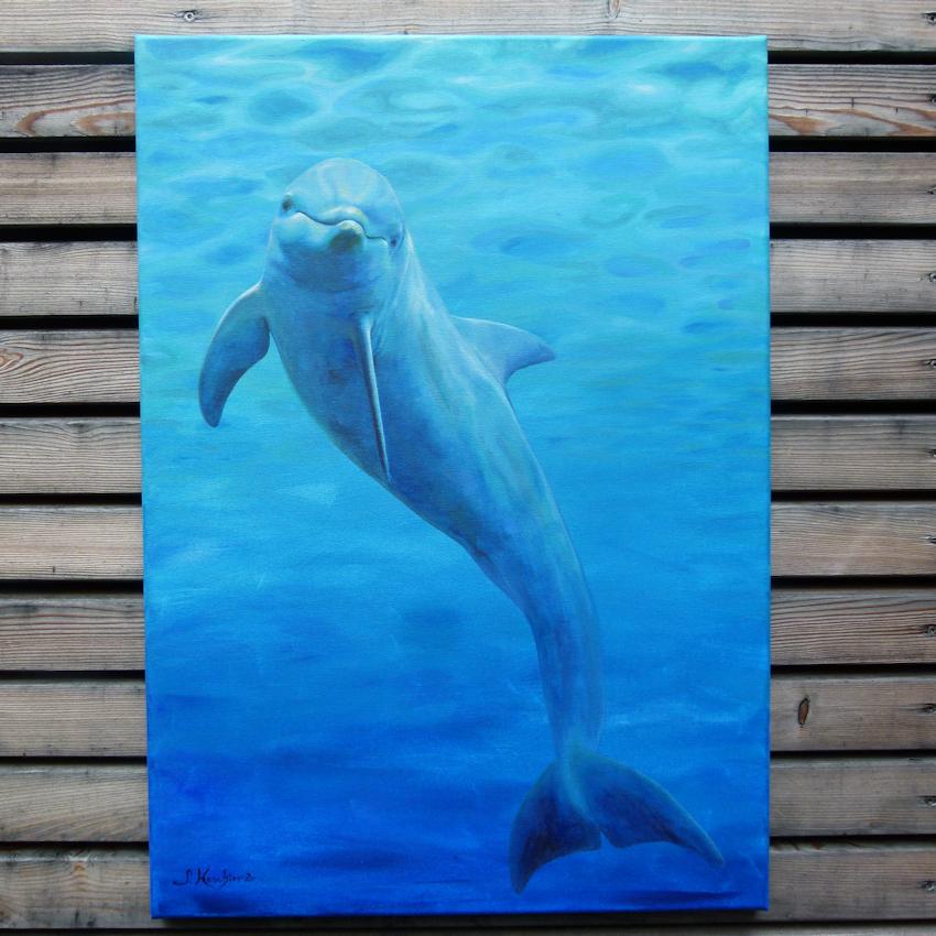 Krafttier Delfin, Malerei der Künstlerin Sabine Koschier, Kolbermoor