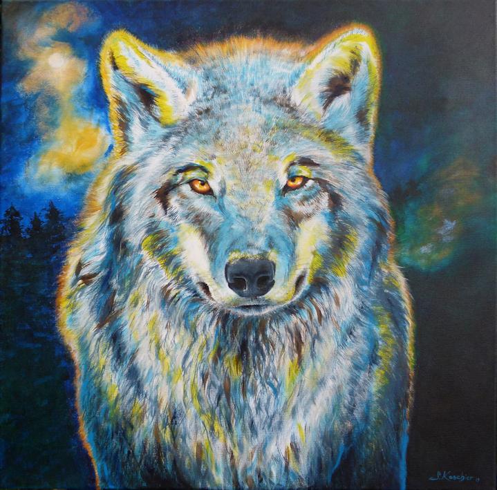 Krafttier Wolf in der Nacht, Malerei der Künstlerin Sabine Koschier
