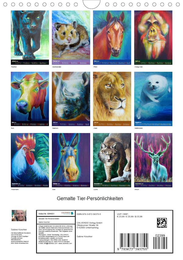 gemalte Tier – Persönlichkeiten 2021 Kunst Kalender
