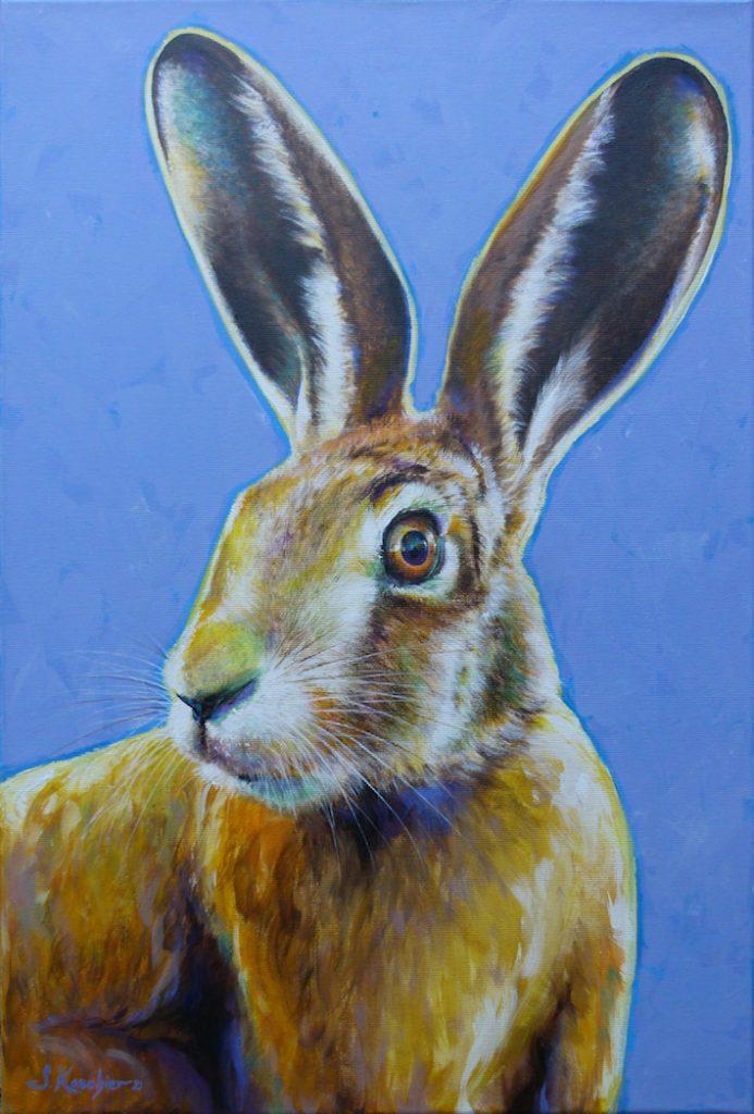 Krafttier Hase oder Feldhase gemalt von der Künstlerin und Schamanin Sabine Koschier