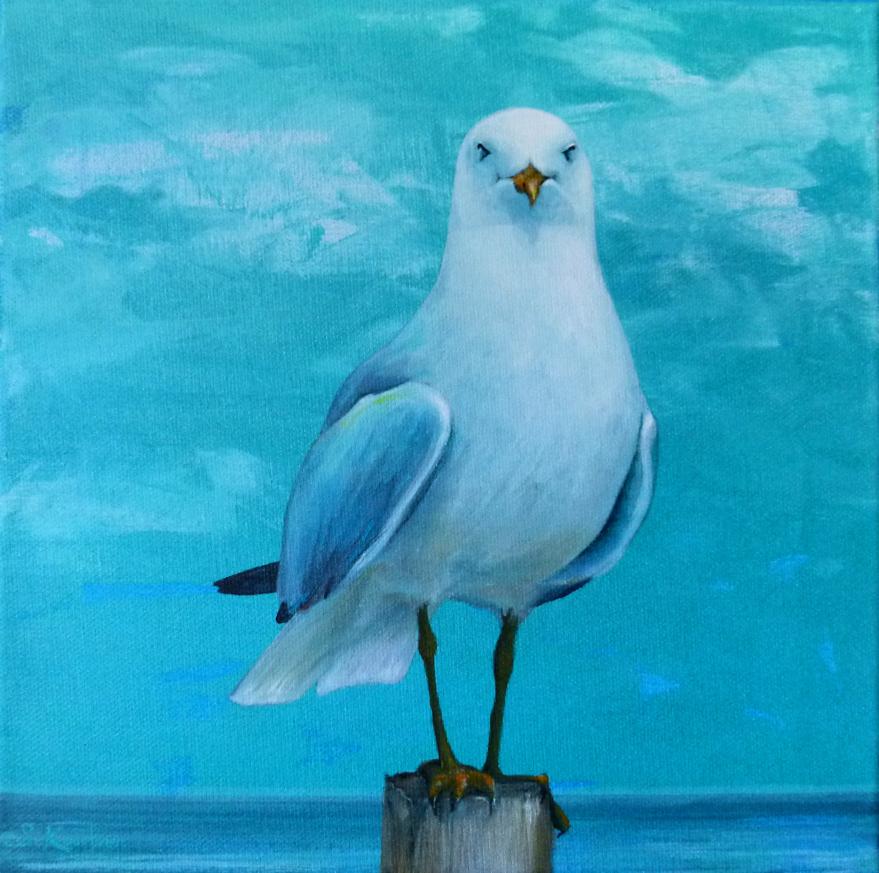 Krafttier Möwe, gemalt von der Künstlerin und Schamanin Sabine Koschier
