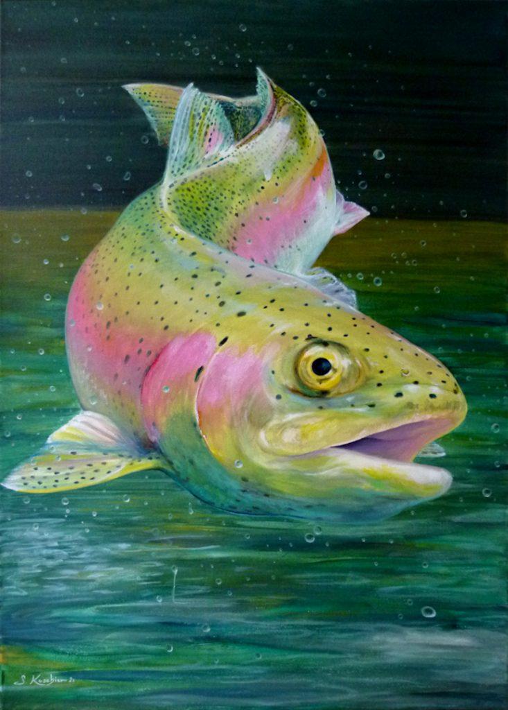 Regenbogenforelle Forelle oder Lachs als Krafttier