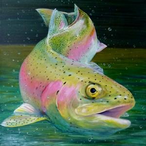 Krafttier Regenbogenforelle gemalt Forelle von Sabine Koschier