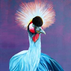 Kranich Krafttier Kronenkranich gemalt von Sabine Koschier
